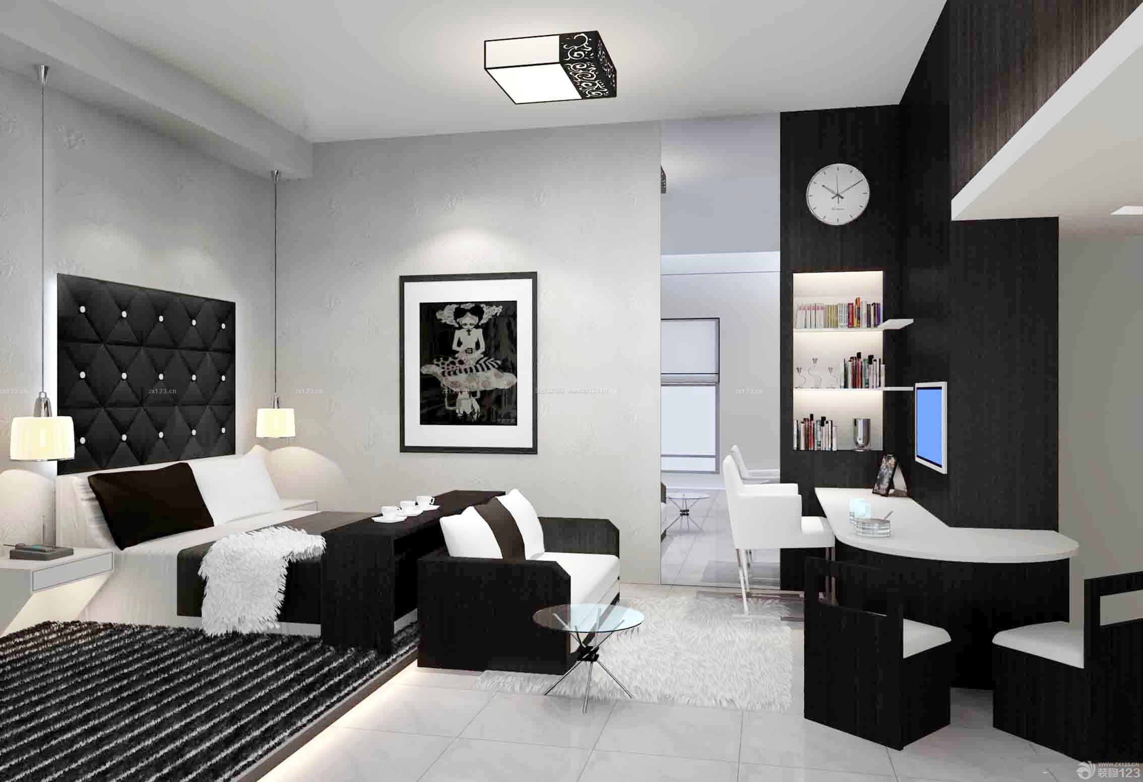 简约黑白风格80平米新房装修图片
