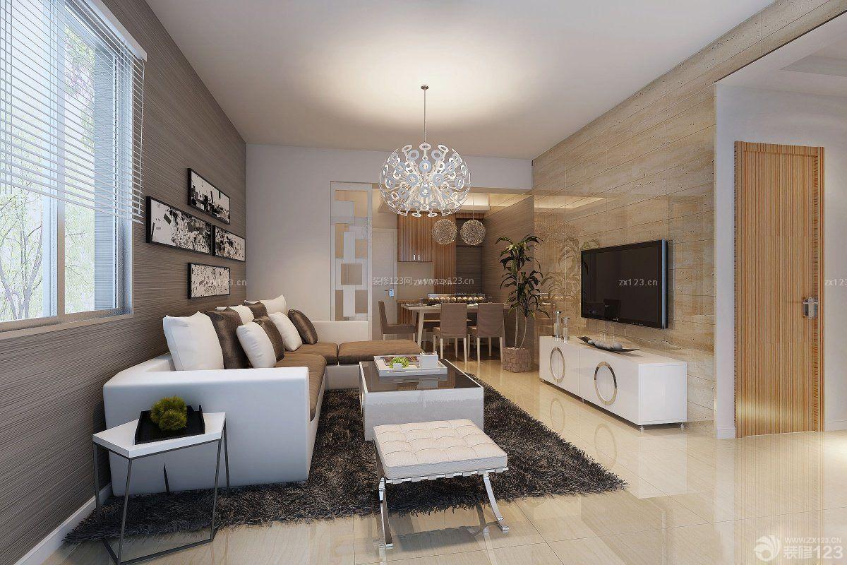 80平米客厅瓷砖电视墙精装修效果图图片