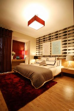 80平米房子中式臥室床頭背景墻裝修樣板效果圖