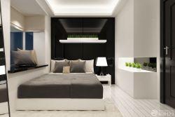 黑白臥室床頭背景墻室內裝潢效果圖