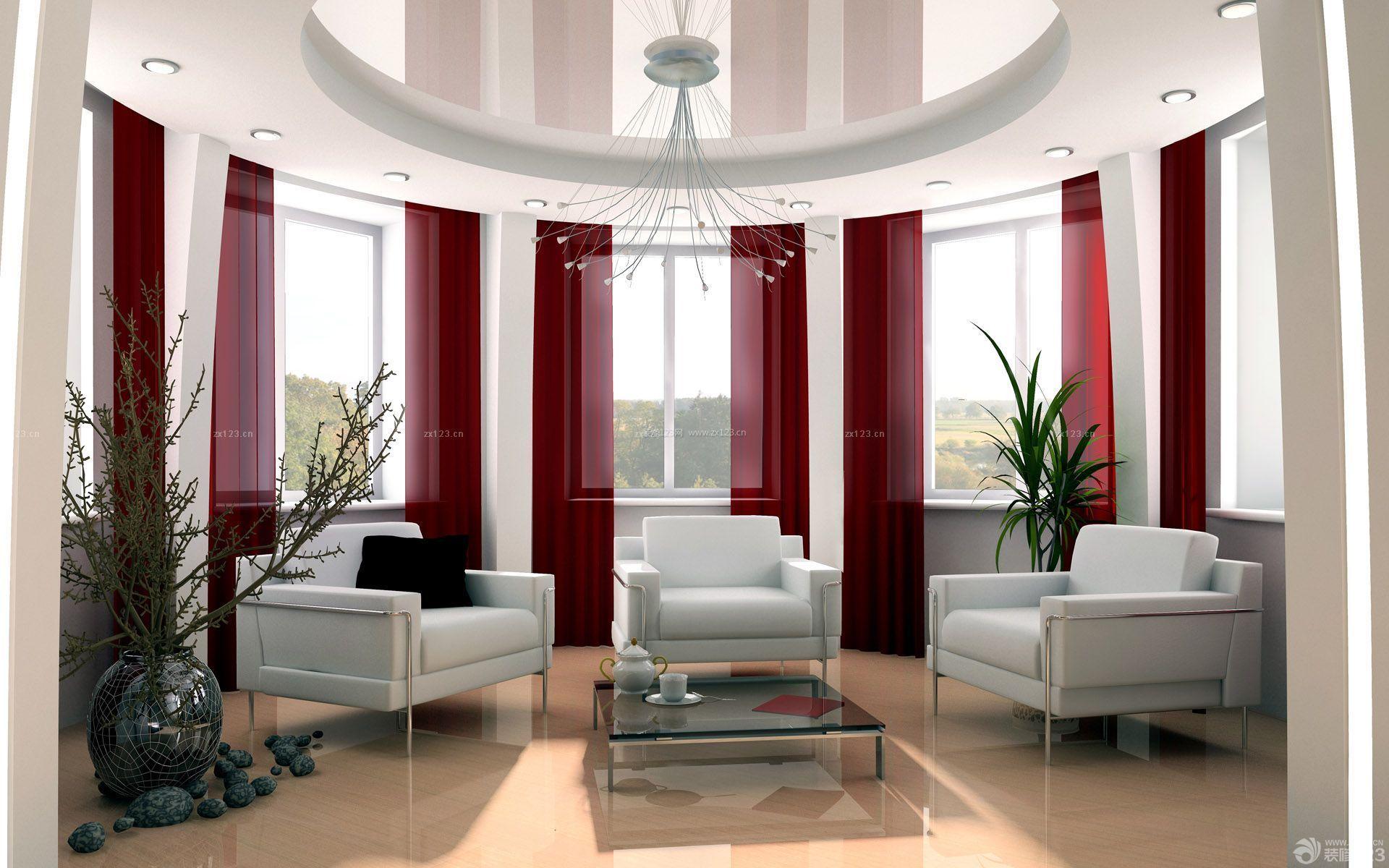 家庭室内吊顶造型装修设计图_装修123效果图