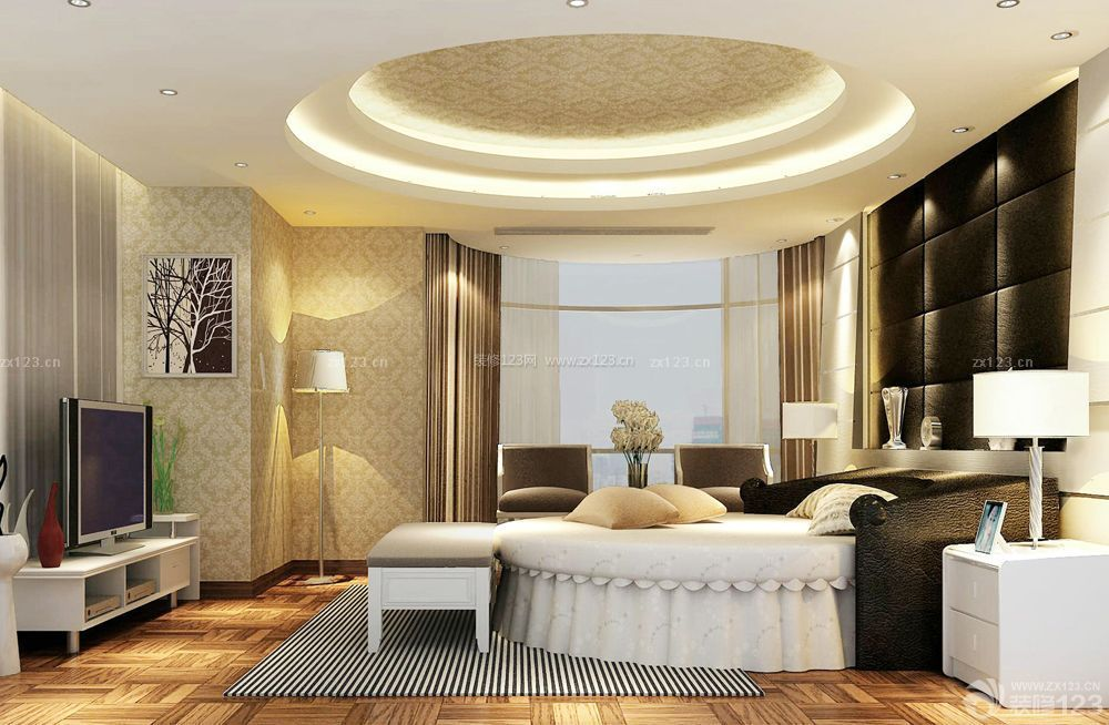 四室一厅卧室圆形吊顶装修效果图