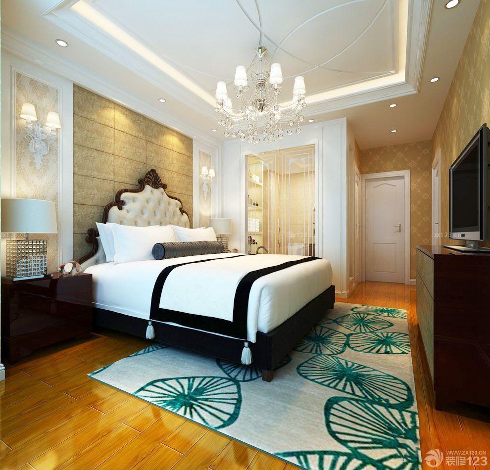 80平米房子石膏线卧室吊顶装修设计图