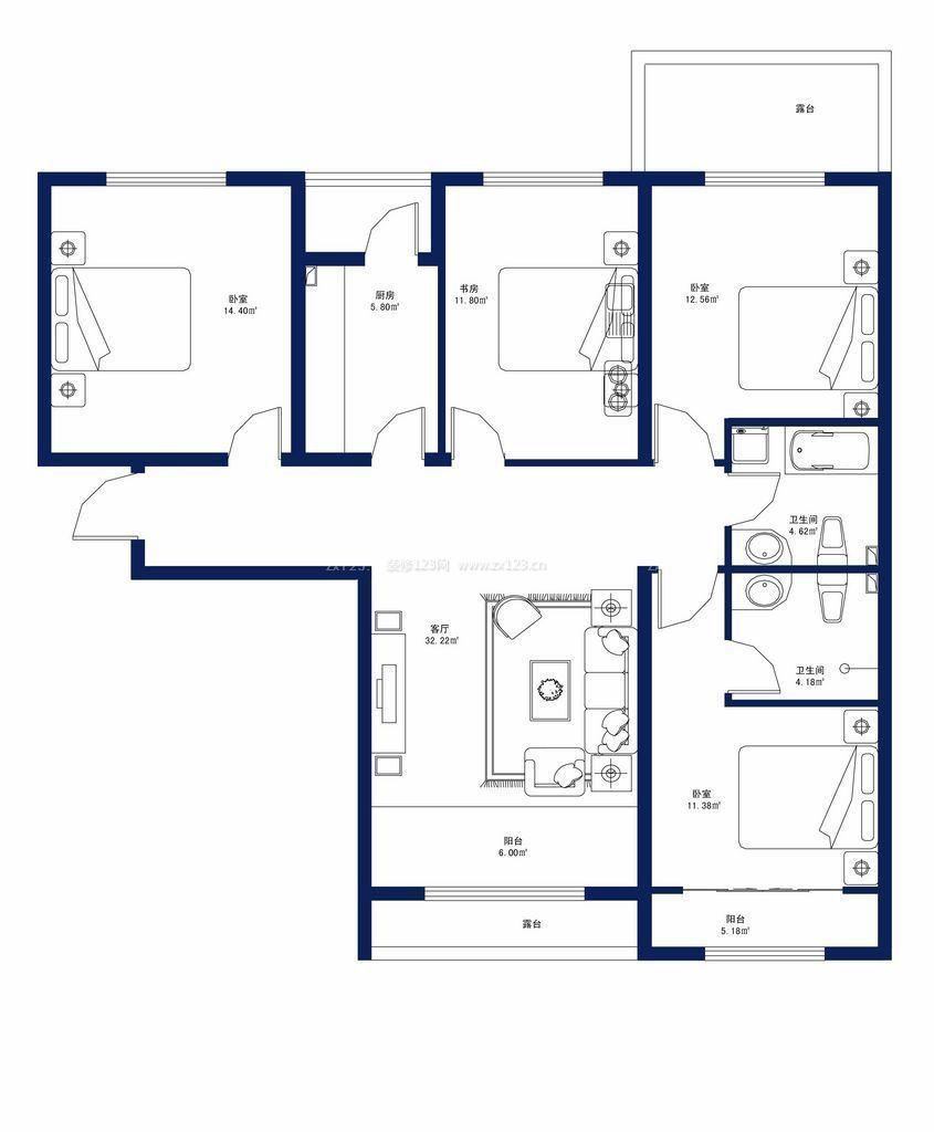 110平米四房一厅设计户型图