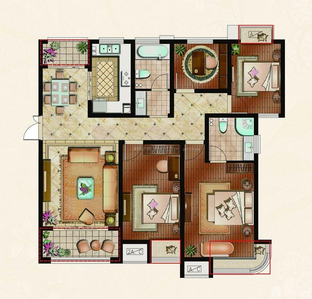 130平米四房一厅设计装修平面图