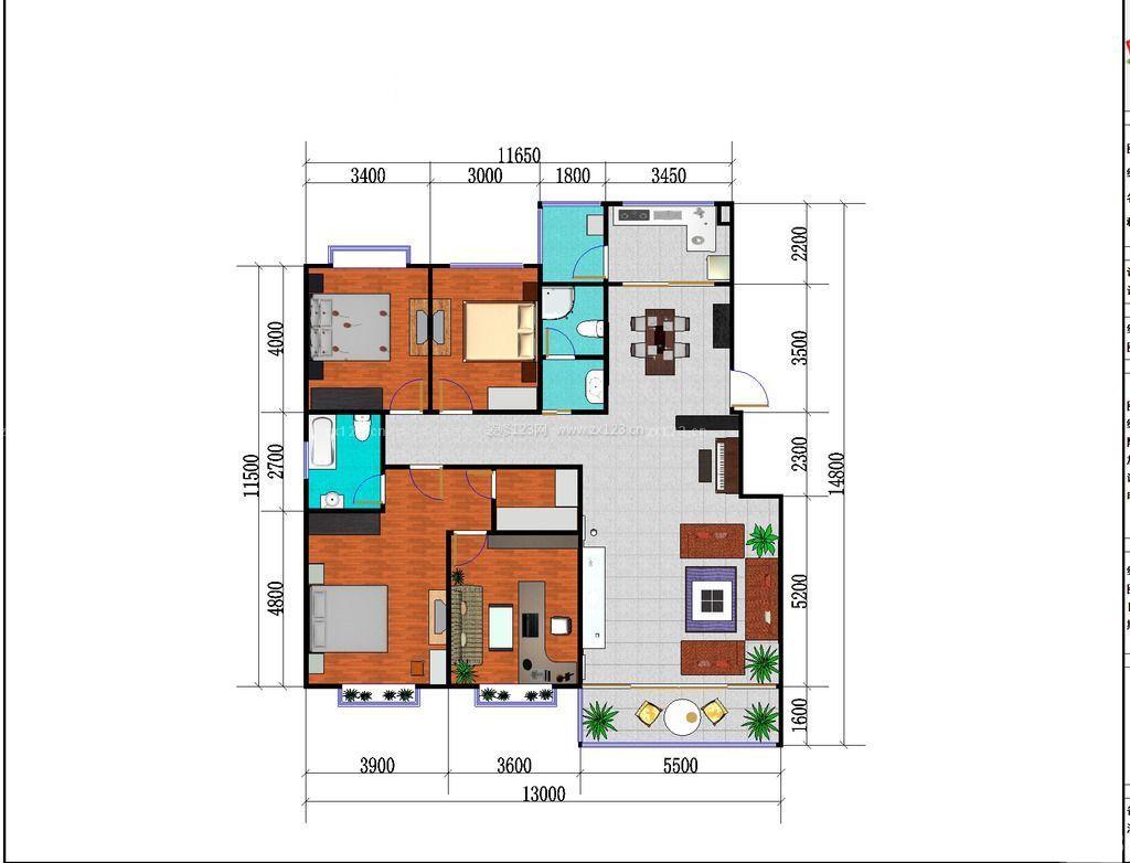 农村自建房四房一厅设计户型图