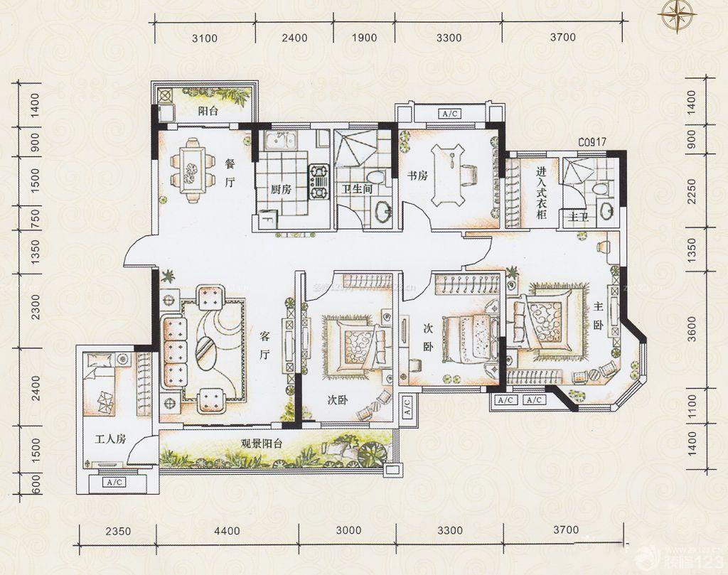 简易四房一厅设计图片大全