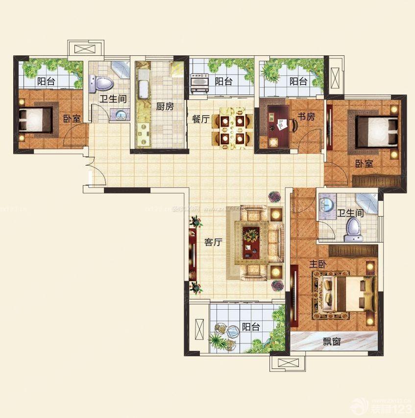 居家自建房四房一厅设计图