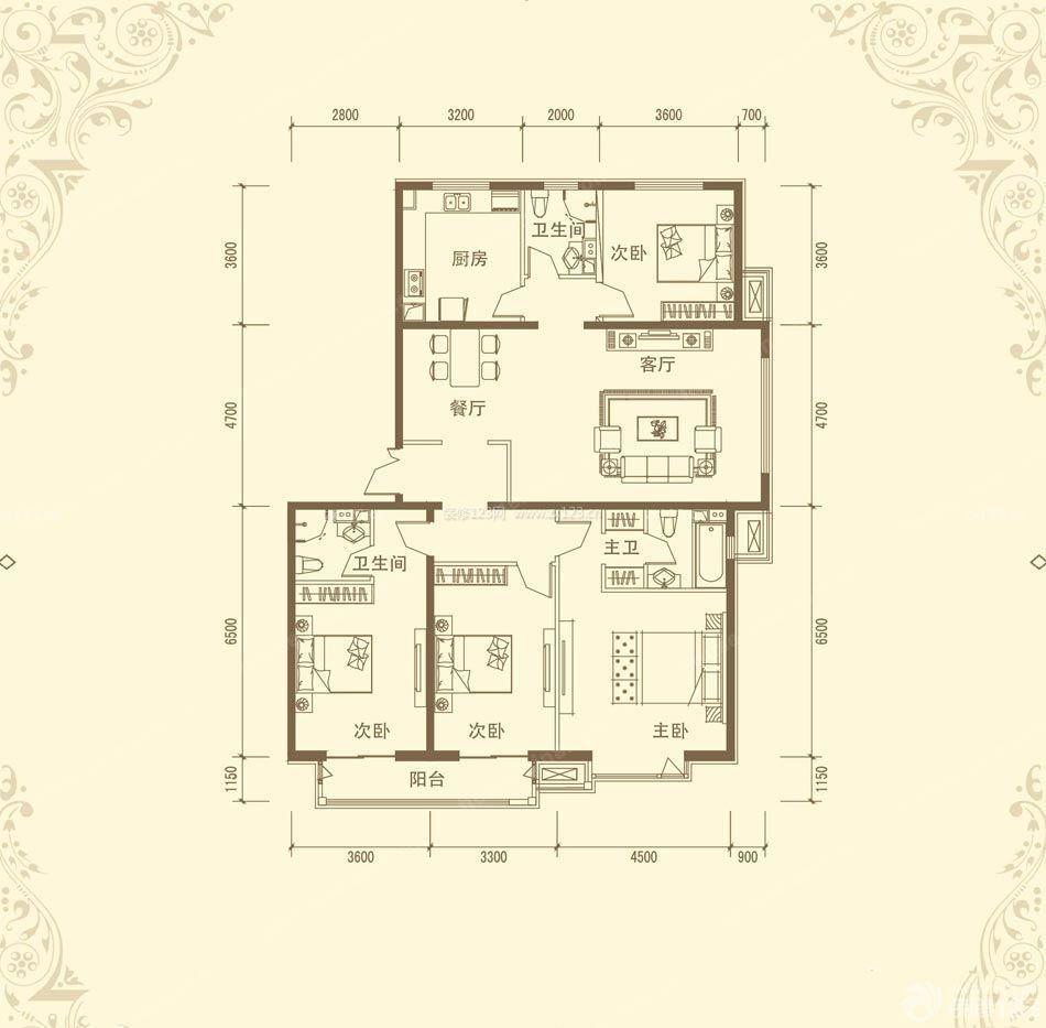 一层农村住宅四室两厅室内平面图设计