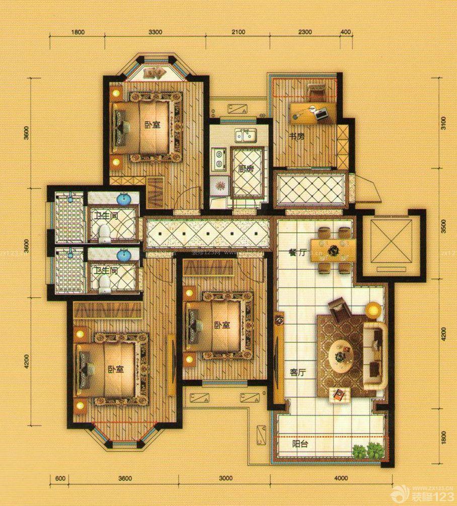 农村自建房四室两厅室内平面户型图片大全