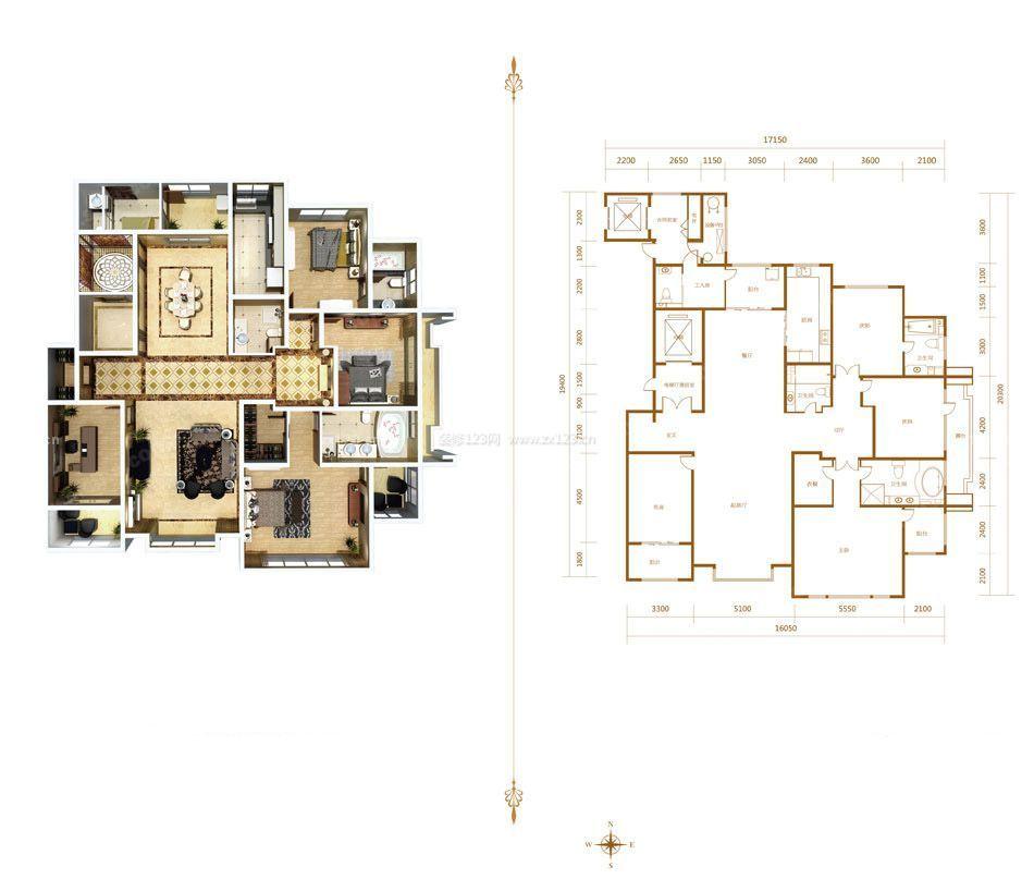 2015自建房屋四室两厅室内平面图设计