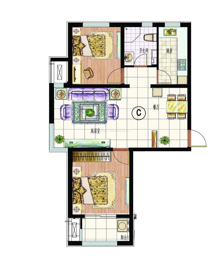 90平米两室两厅房屋室内平面图欣赏