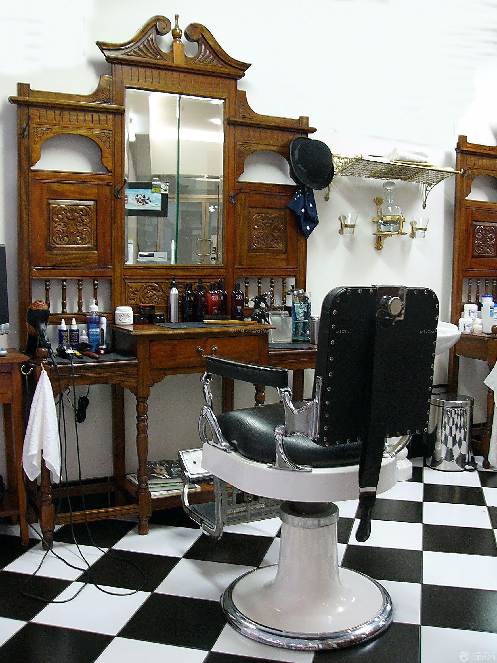 欧式复古风格80平方美发店装修效果图图片
