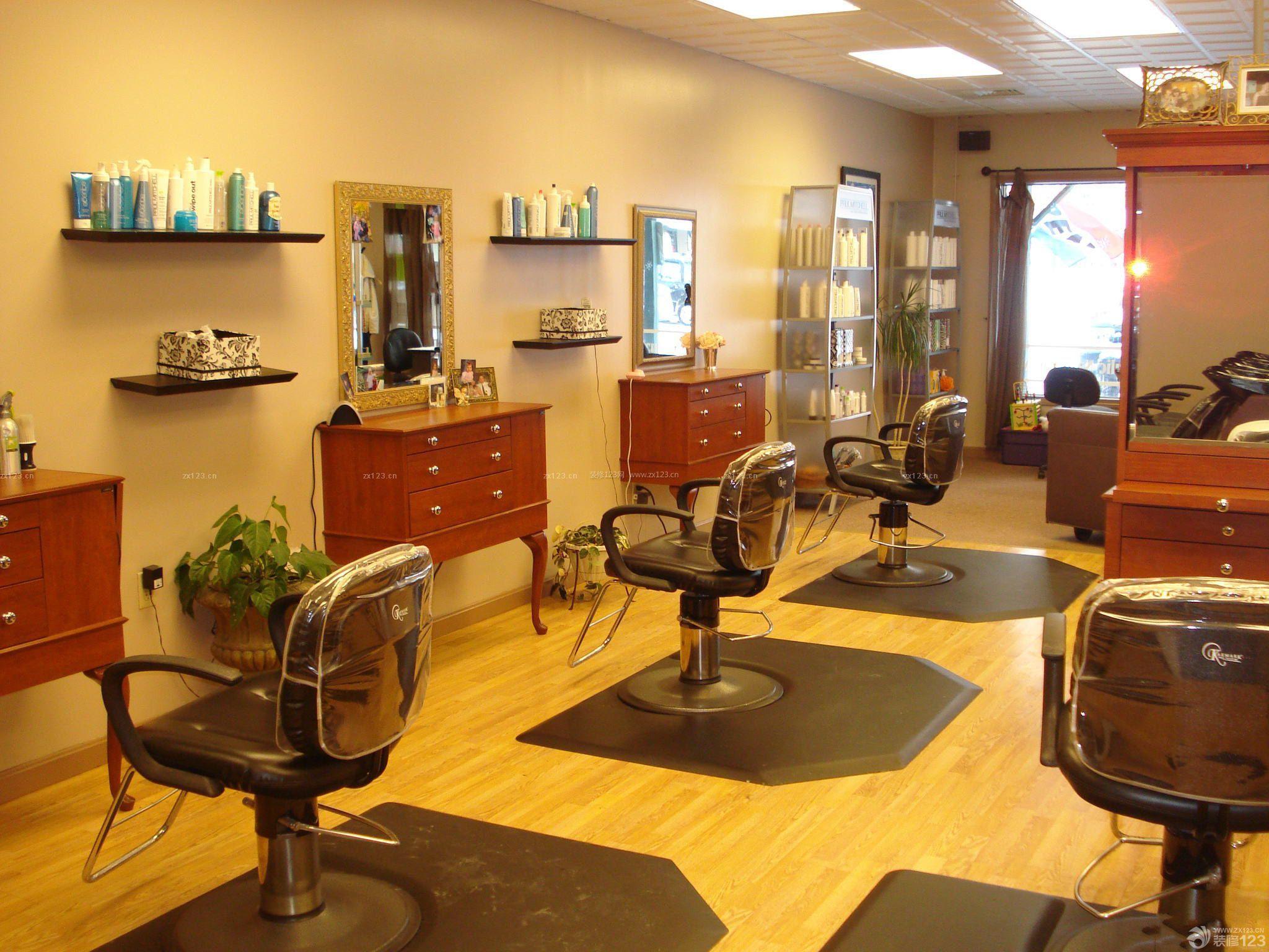 美式古典风格80平方美发店装修效果图