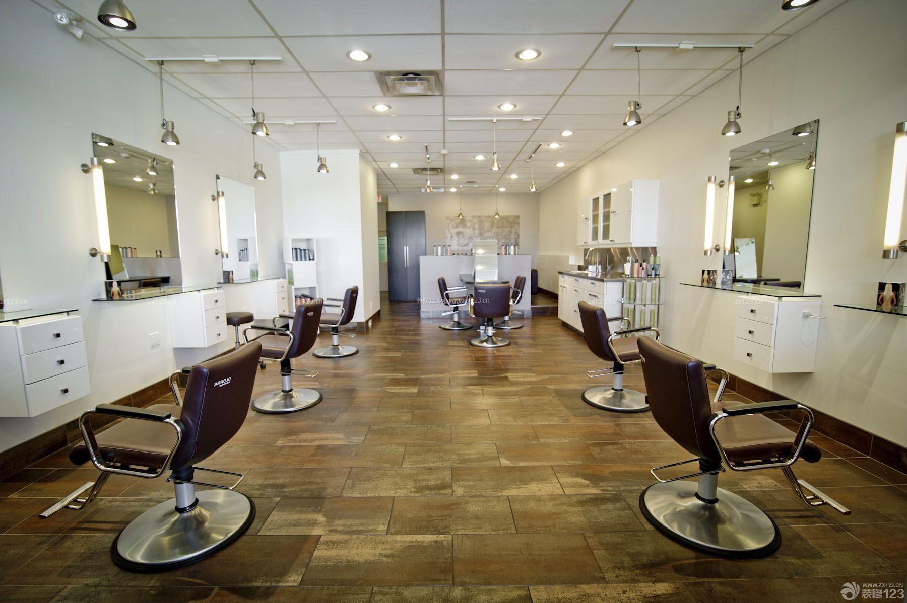 80平方棕色地砖美发店装修效果图图片