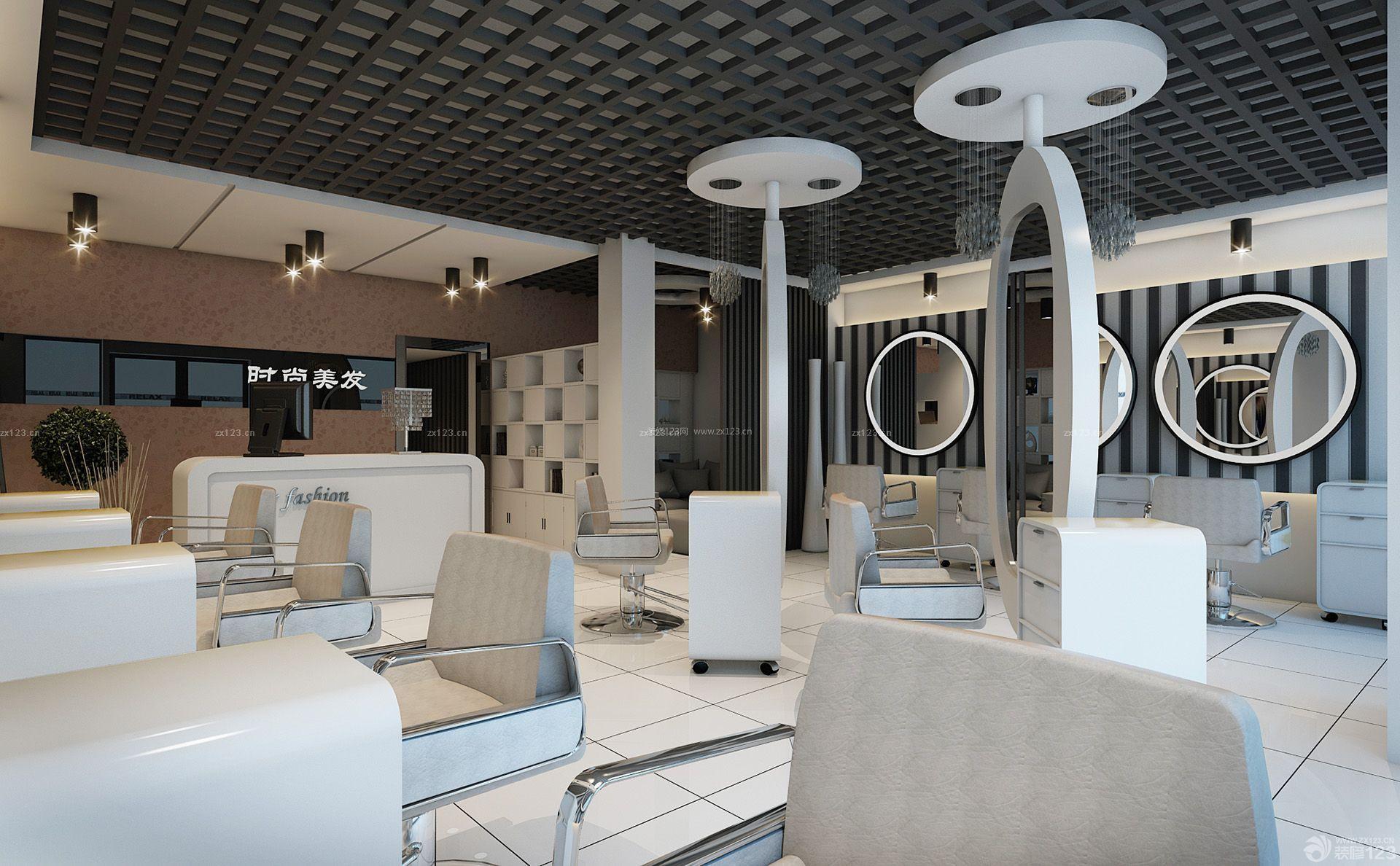80平方小户型美发店室内创意设计装修效果图
