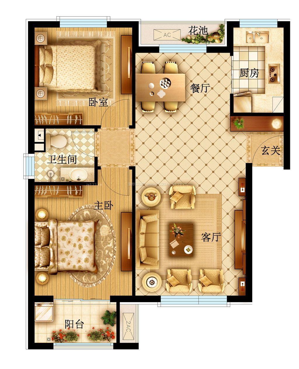 120平方三室两厅房子设计图展示