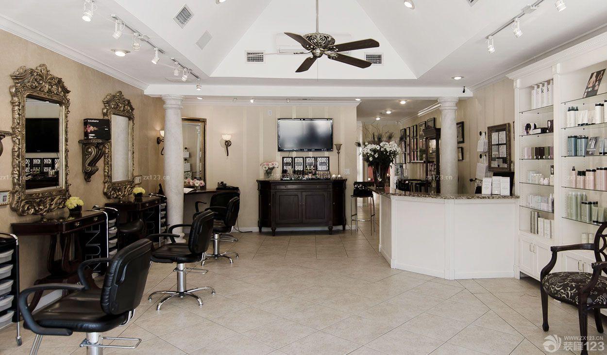 80平方尖顶阁楼美发店装修效果图图片