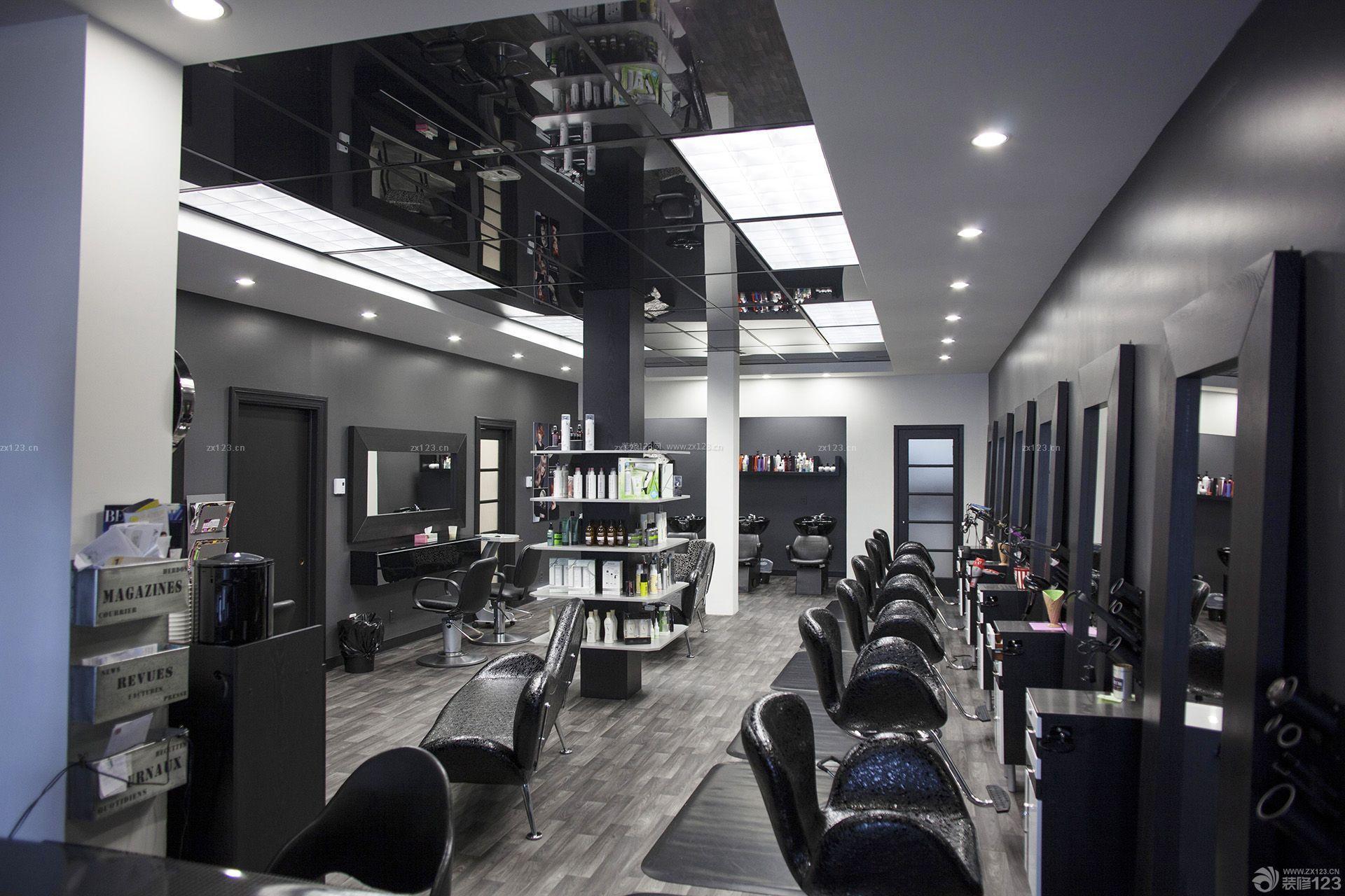 80平方镜面吊顶美发店装修效果图图片