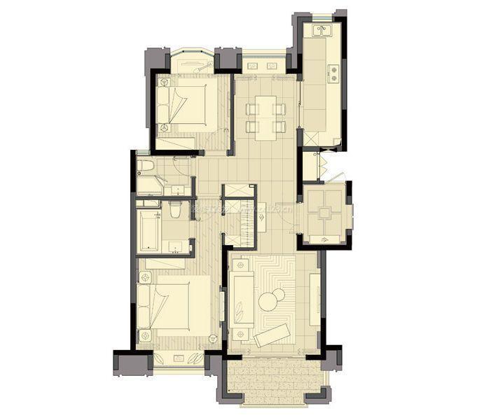 农村90平米两室两厅房屋设计平面图