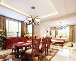 現代三室兩廳餐廳吊燈裝修效果圖