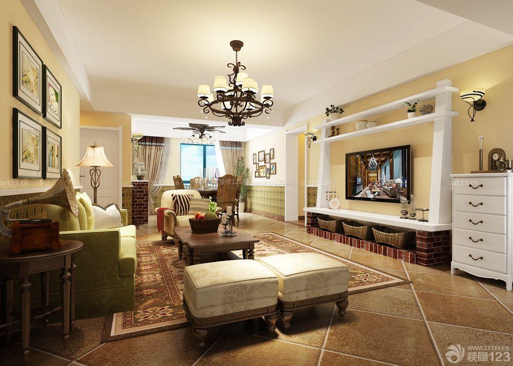三室两厅房子客厅墙面装饰装修图片