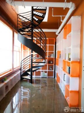 90平米复式楼室内旋转楼梯装修效果图图片