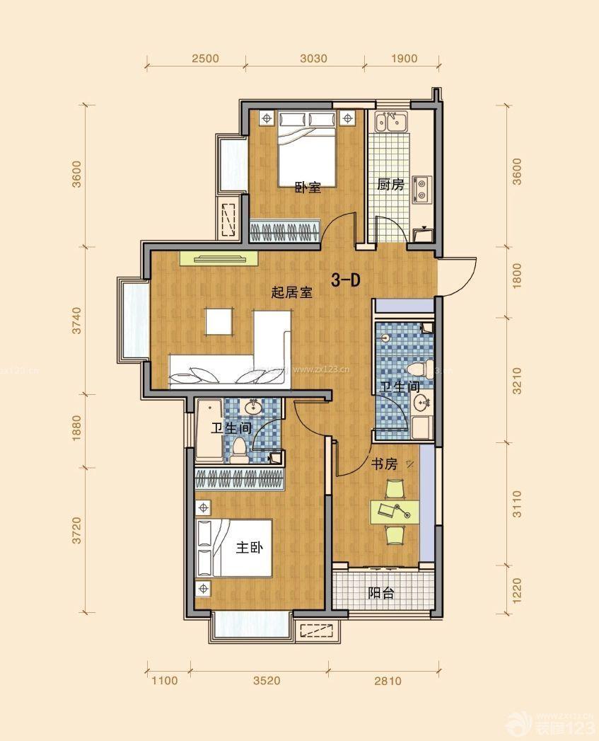 农村三室一厅2层设计图展示