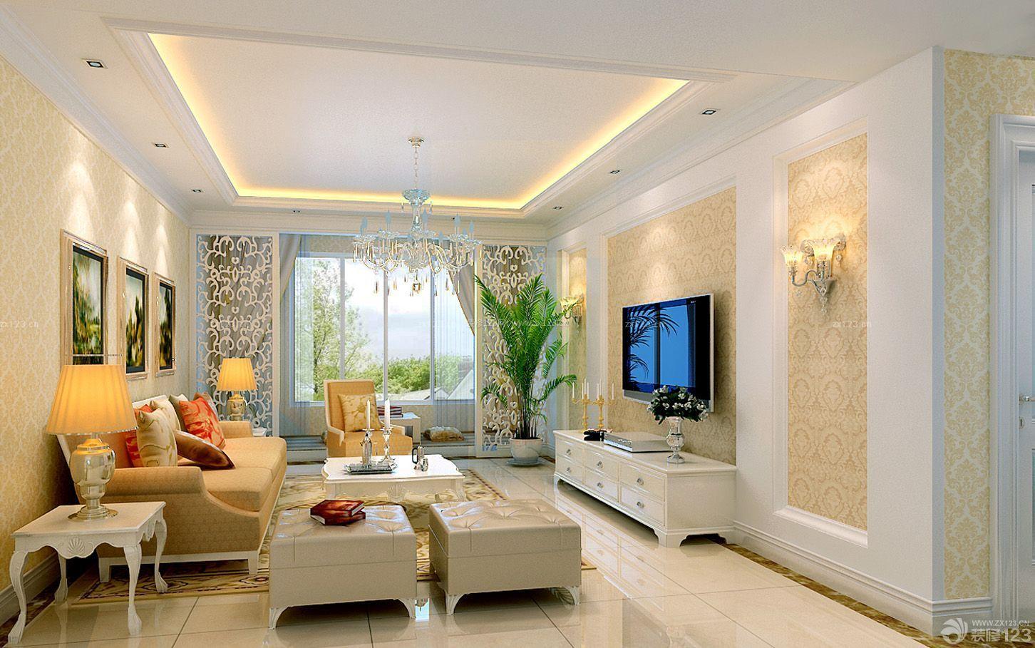 精装80平米小户型房屋电视背景墙装修效果图