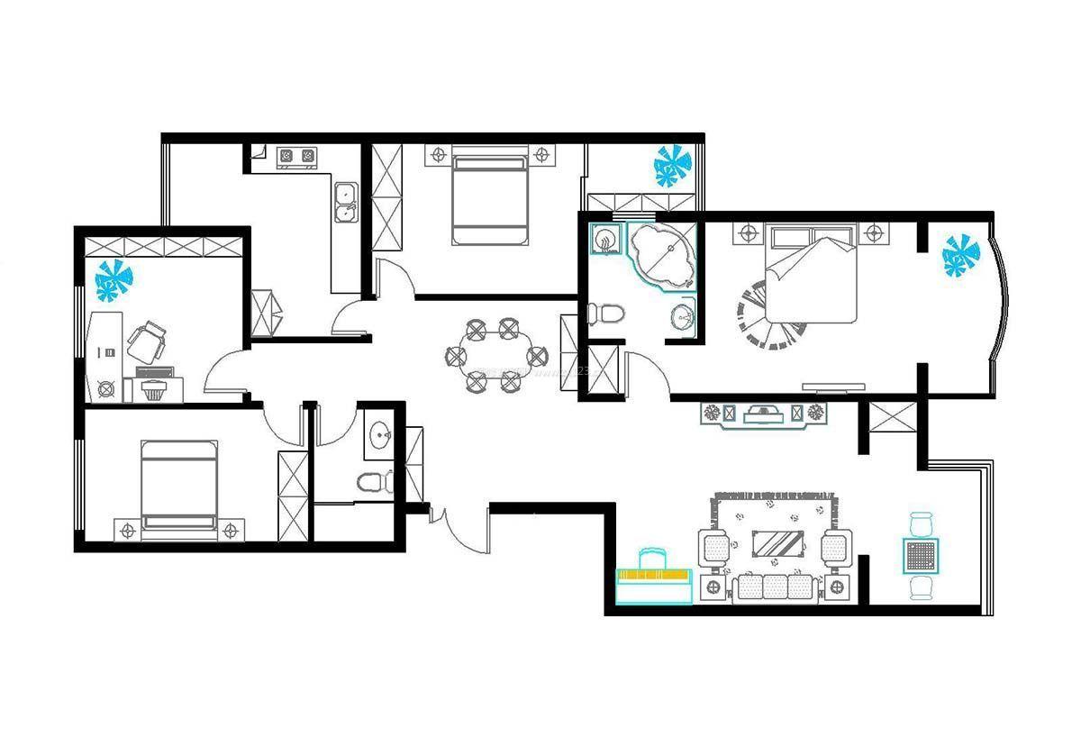 房屋设计图三室一厅长方形户型图