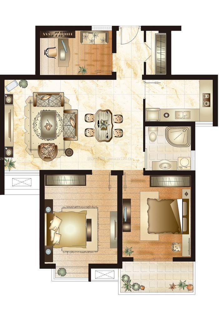 小户型房屋设计图三室一厅图片欣赏