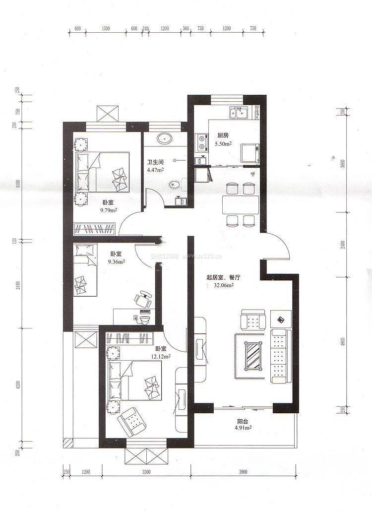 自建房屋设计图三室一厅样板大全