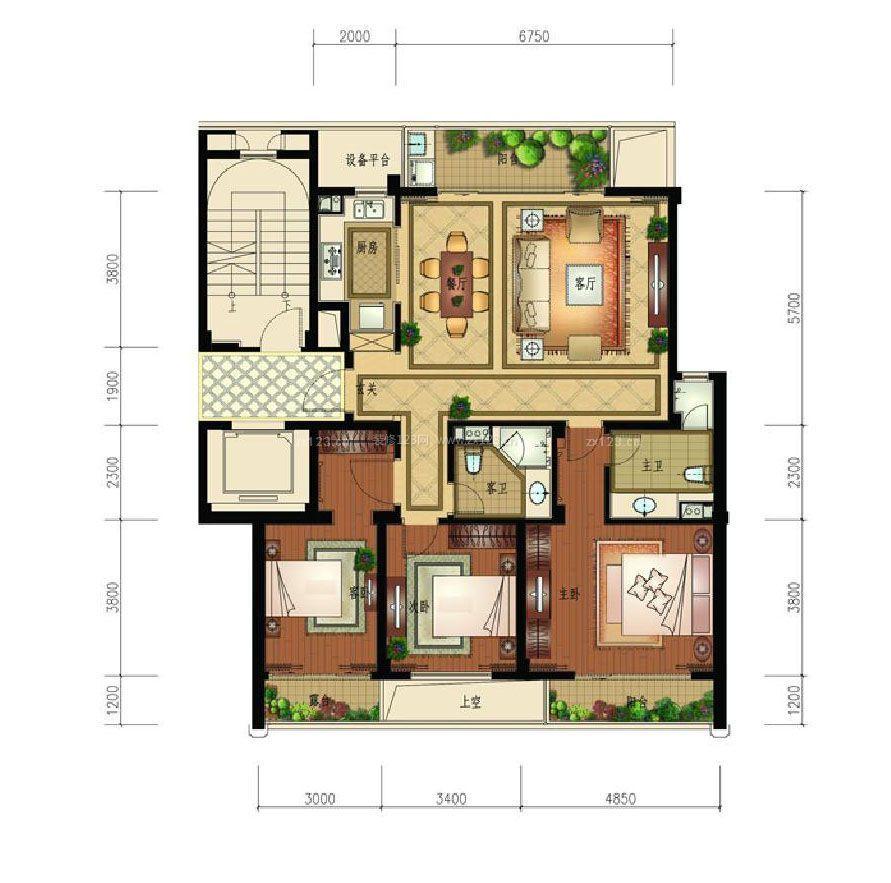 复式楼房屋设计图三室一厅样板