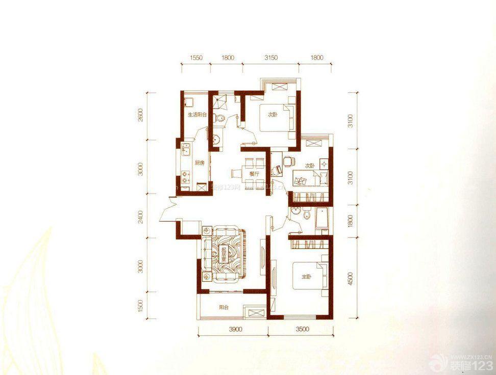 居家房屋设计图三室一厅户型图