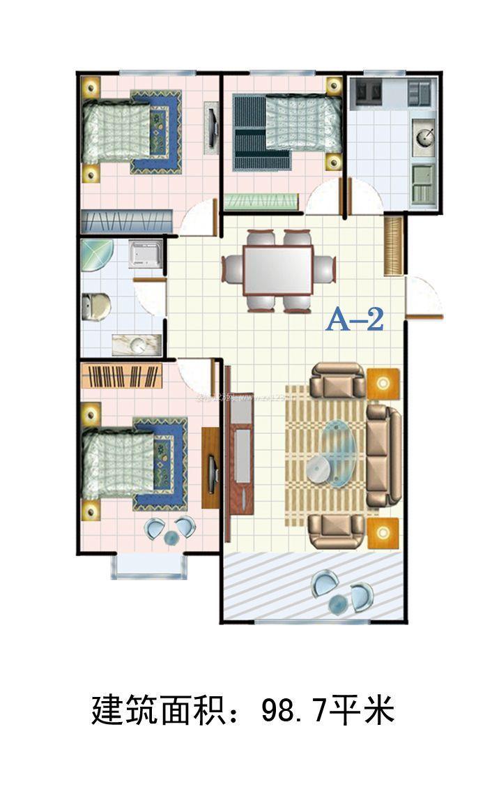 楼房设计图三室一厅120平方米长是14米宽是8,5米