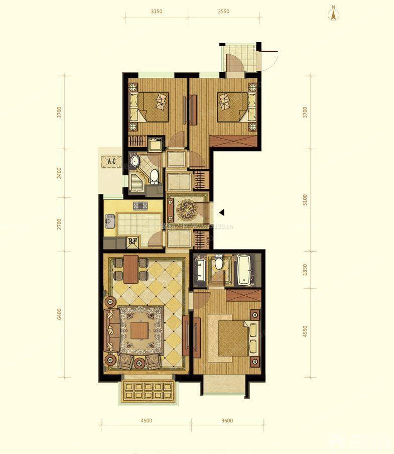 房屋设计图三室一厅户型图欣赏