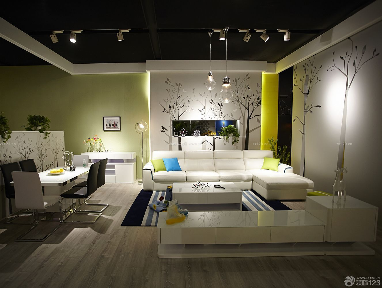 现代时尚简约风格三房客厅装修样板房