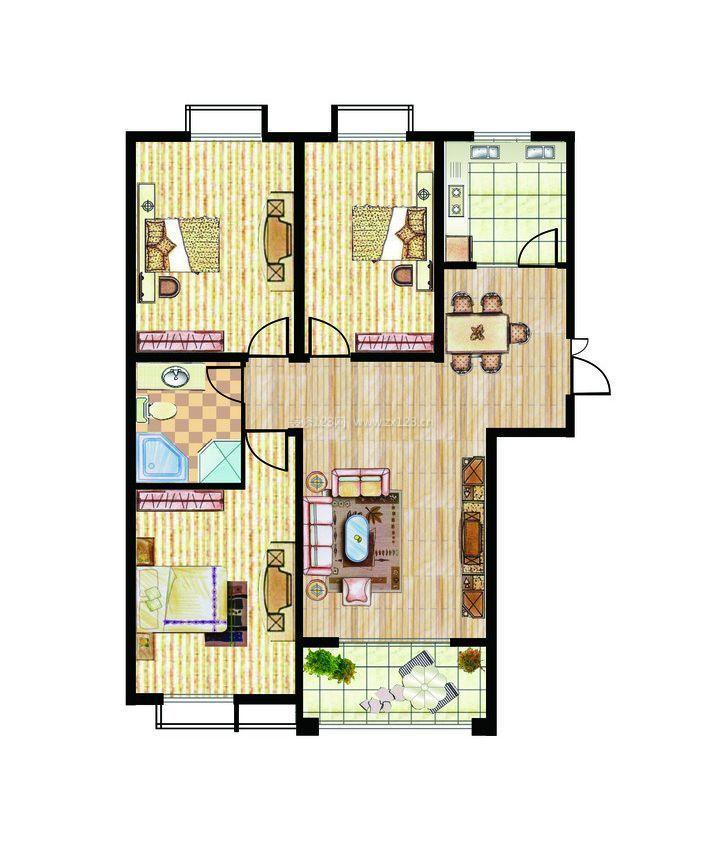 实用房屋设计图三室一厅小户型设计方案