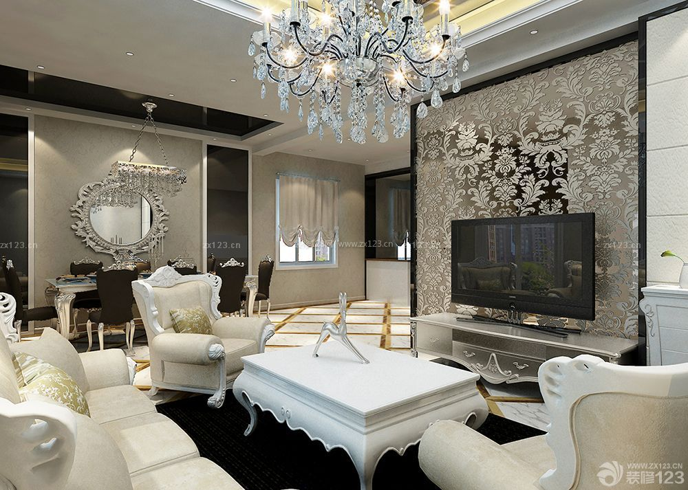 欧式三室房子客厅水晶吊灯装修效果图