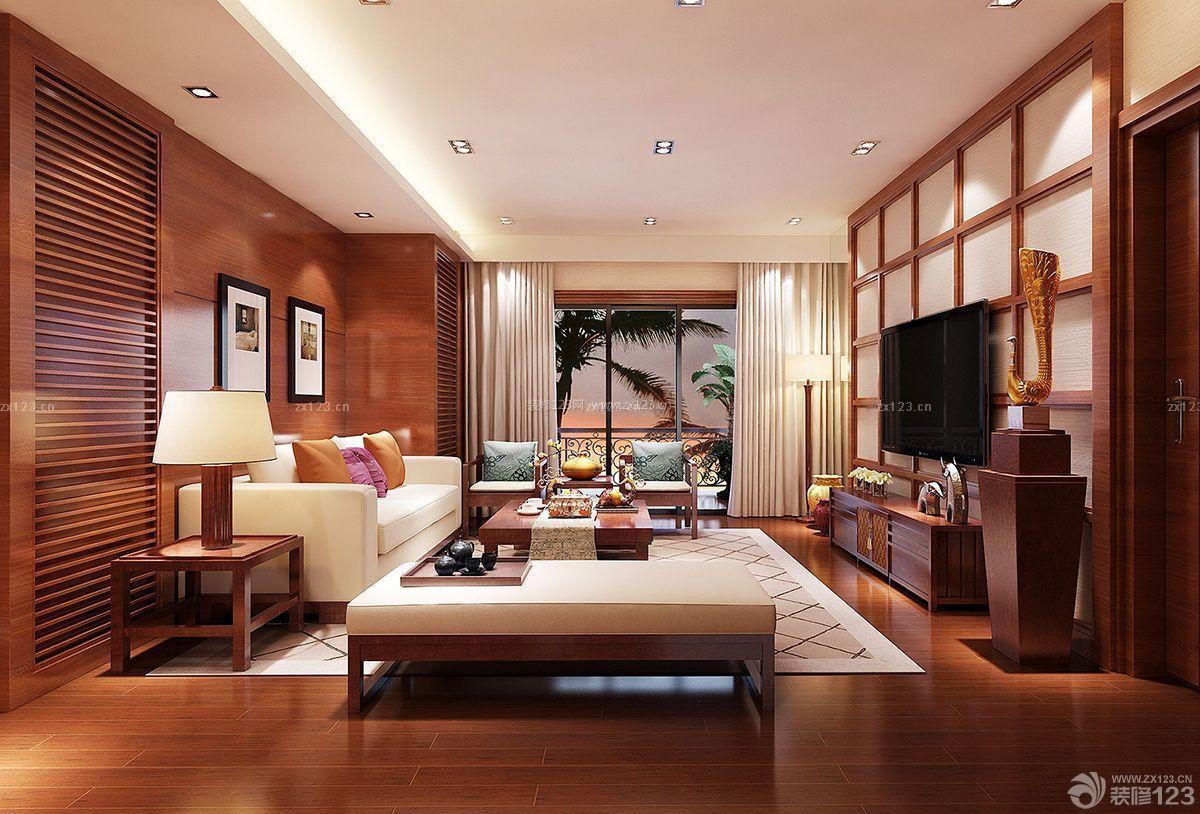 中式风格三室房子室内客厅装潢装修效果图