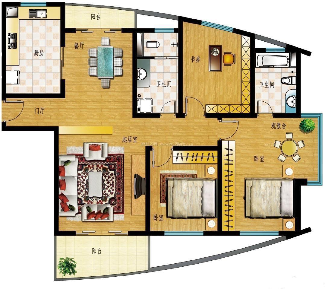 创意房屋设计图三室一厅阳台设计