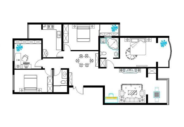 长方形户型效果图大全_长方形房子设计平面图