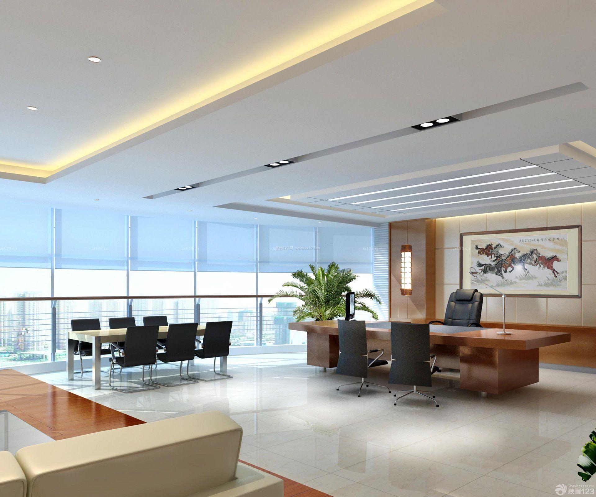 现代90平米办公室室内吊顶装修效果图