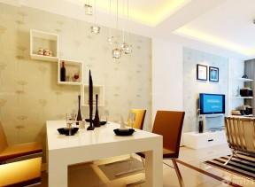 90平兩室兩廳裝修案例 墻面置物架裝修效果圖片