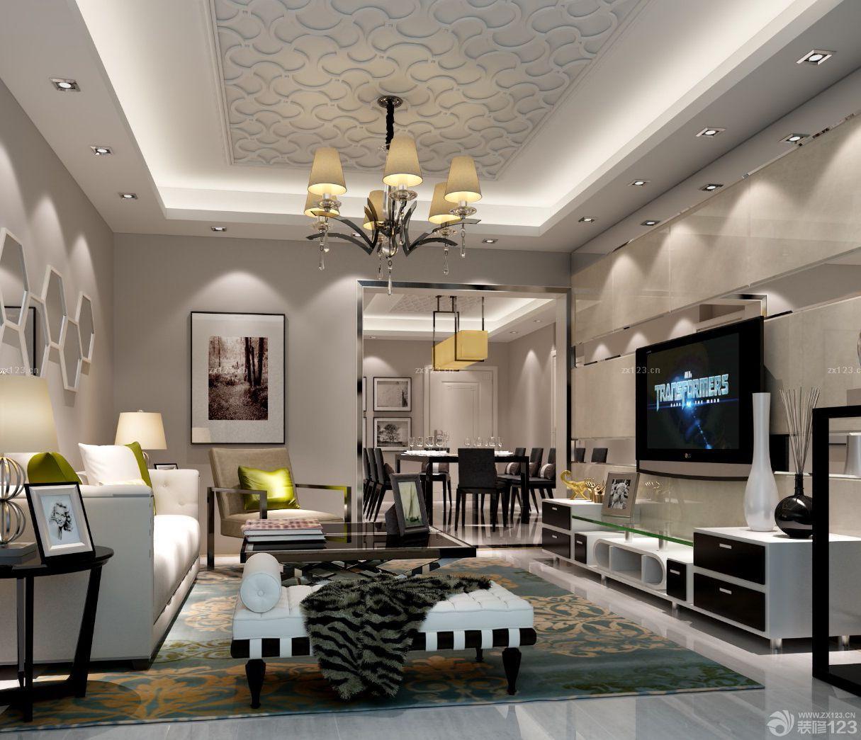 现代美式风格90平方米房屋装修效果图图片