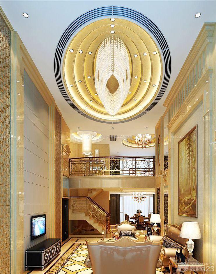 复式楼家居客厅吊顶造型设计图图片