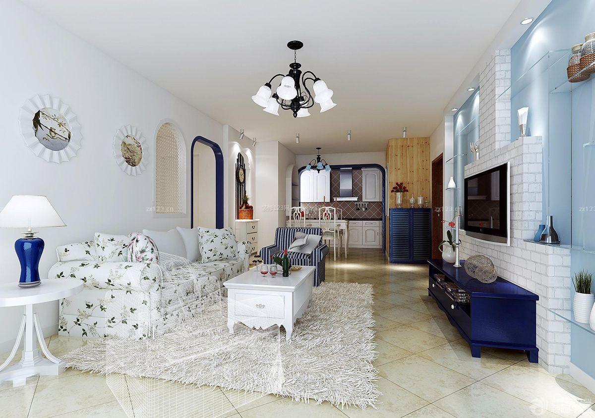 简约地中海风格两居室房屋客厅装修效果图