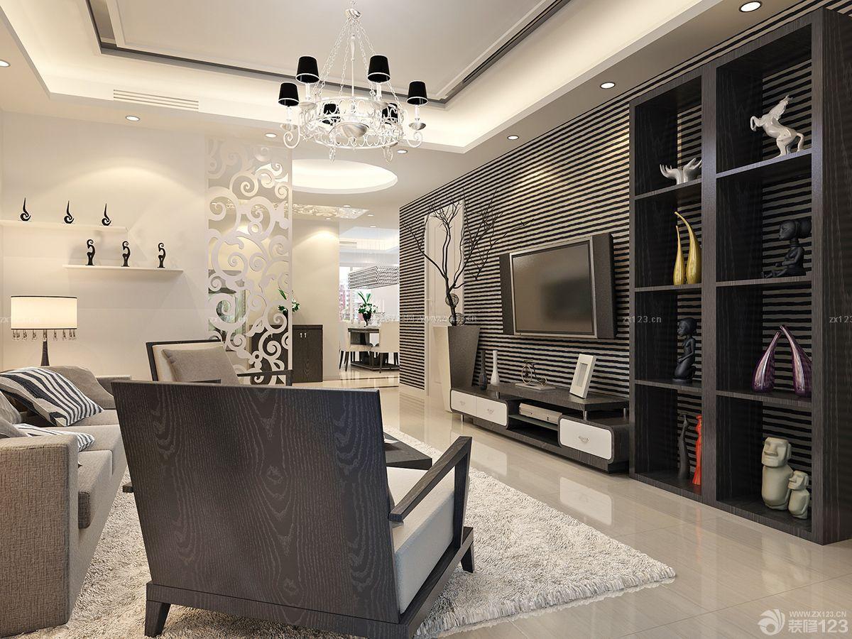时尚两室一厅小户型电视墙设计装修样板房