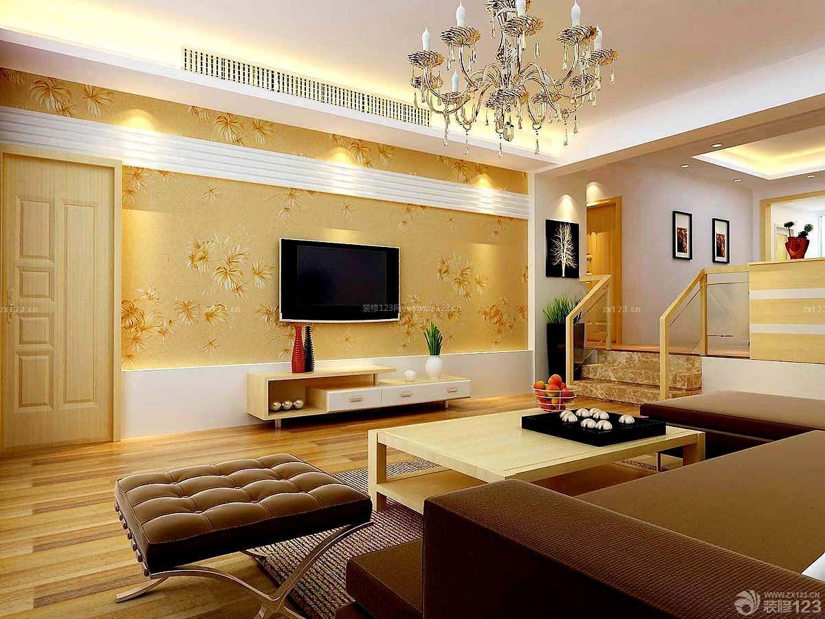 简约欧式两居室房屋花朵壁纸电视墙装修效果图