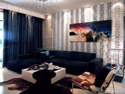 現代風格客廳沙發背景墻效果樣板房